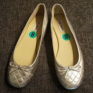 Steve Madden silver Tipie leather ballet flats